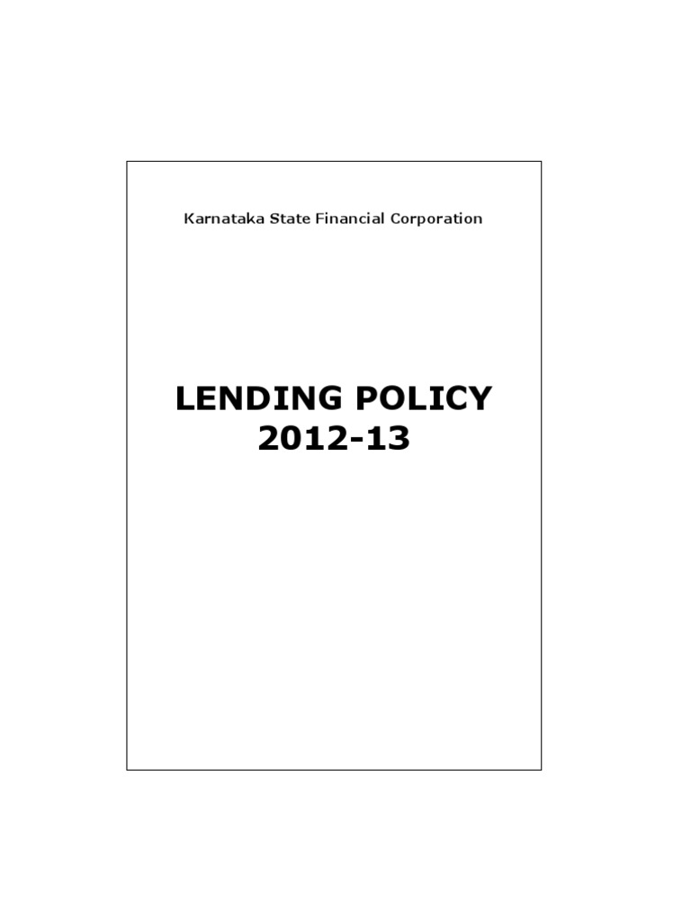 Karnataka state finance corporation lending policy 2013-14
