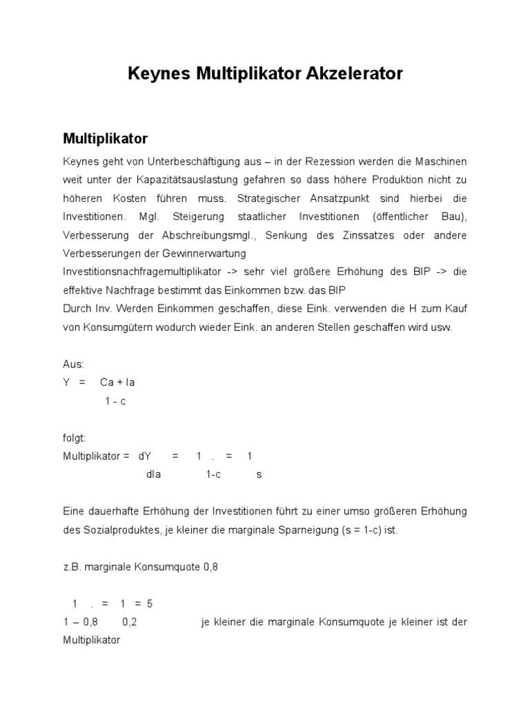KEYNES Multiplikator