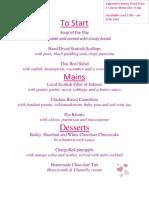 Corner Grill Valentines menu