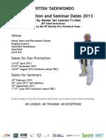 Dan Promotion and Seminar Dates 2013 29.1.13 At