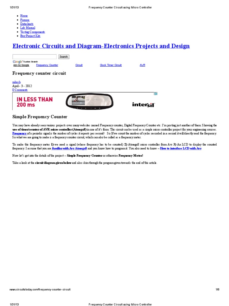 Frequency Counter Circuit Using Micro Controller Electronic Diagram Project Circuits Microcontroller