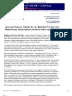 Maryland AG Announces Privacy Enforcement Unit