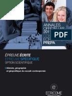 Annale Ecricome Prepa 2011 Hist-Geo-geopolitique