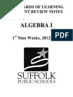 algebra 1 crns 12-13 1st nine weeks