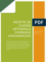 Recette de cuisine artisanale d'Ambanja ( Madagascar )