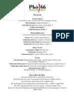 Pho 66 food menu