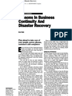 Lessons in Business Continuity and Disaster Recovery