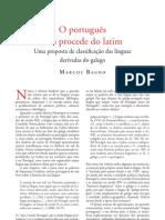 O Português não Procede do Latim