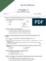 MMWT Class XI ques. paper