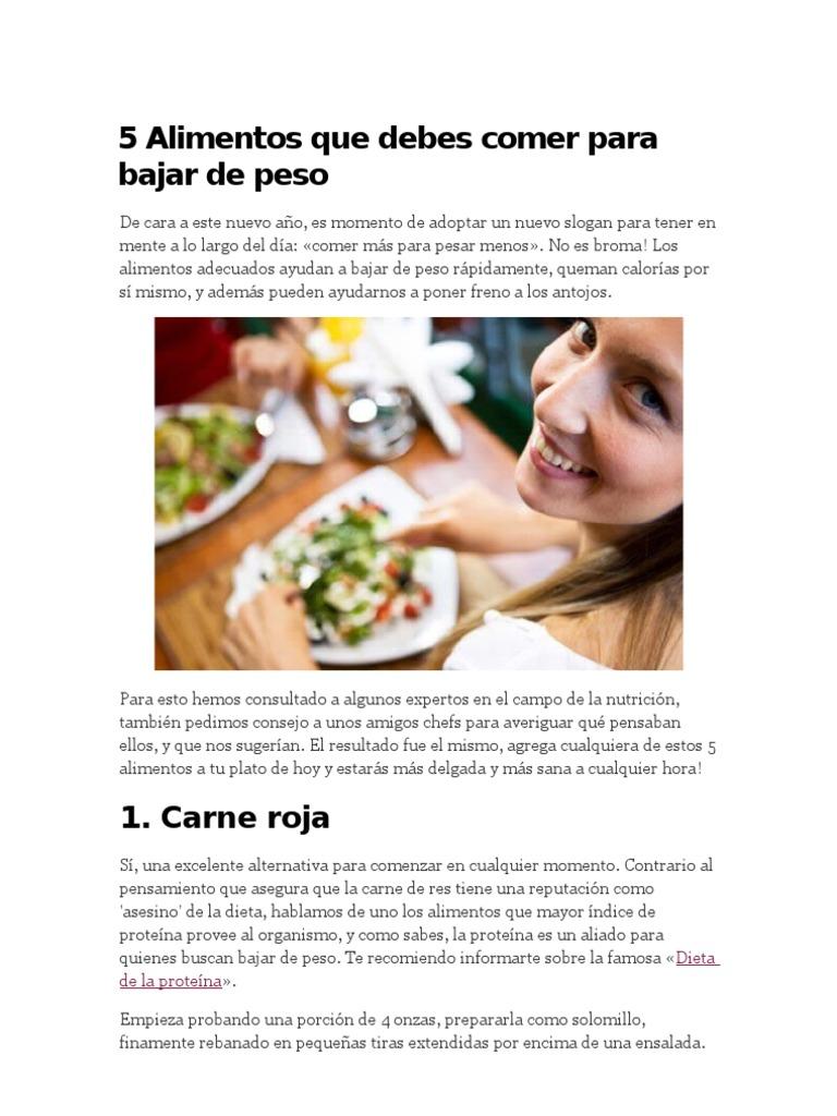 Alimentos que debes comer para bajar de peso