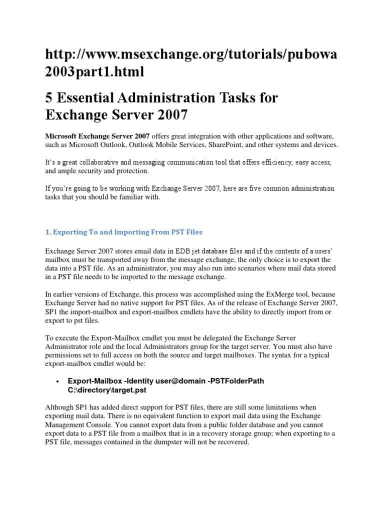 5 Essential Administration Task Of Exch 2007