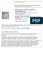 Blogging Self-Presentation and Privacy