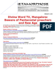 DIVINE WORD TV MANGALORE-BEWARE OF PENTECOSTAL PREACHERS AND NEW AGE