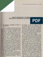 Ruiz Zuniga Logica Matematica Y Filosofia Analisis Del Pensamiento De George Boole