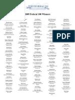 2009 Fed 100 Winners List
