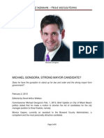 Is Michael Gongora Strong City of Miami Beach Mayor Candidate