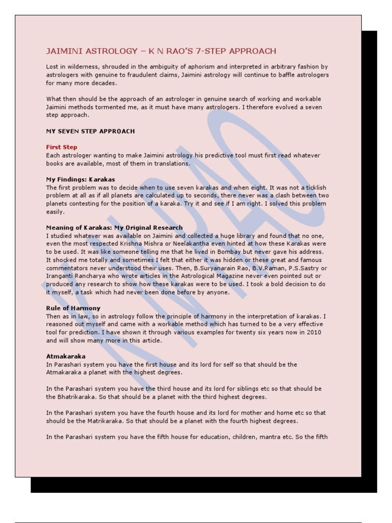 Jaimini Astrology - 7 Step Approach by k n Rao Sir | Hindu