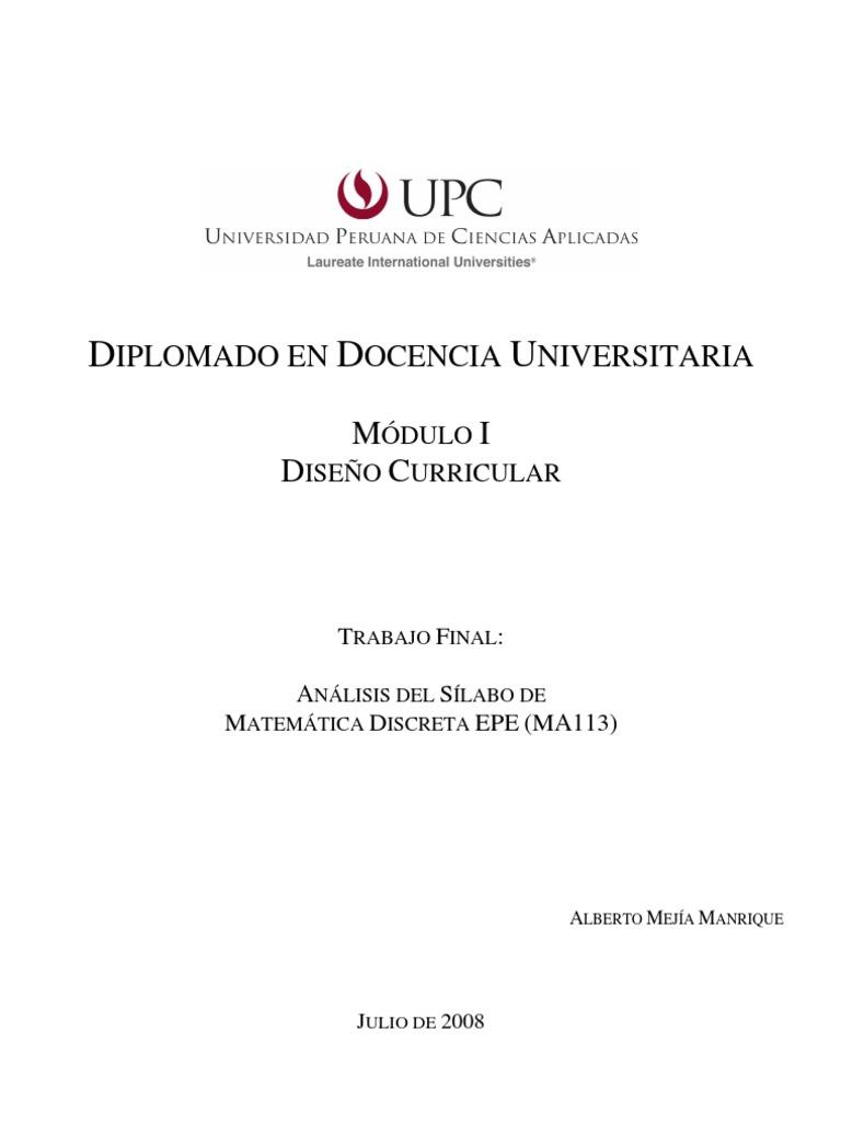 Análisis de Sílabo (Matemática Discreta) UPC - EPE