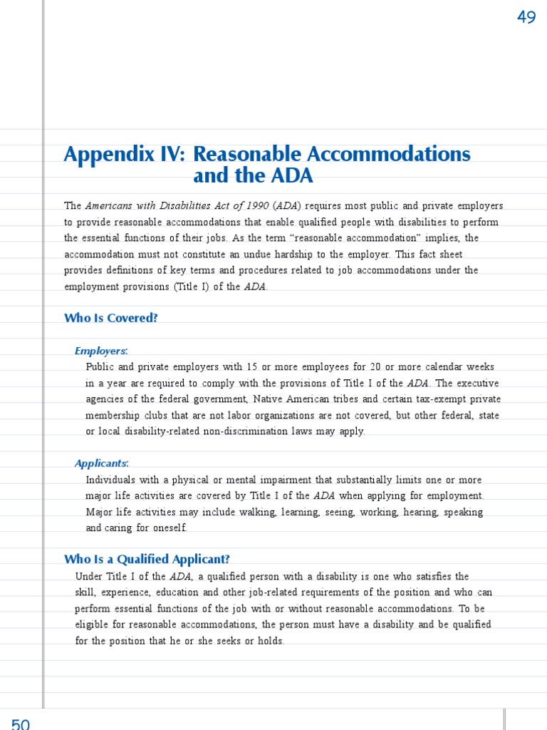 an analysis of the americans with disability act ada of 1990 Legislation passed in 1990 that prohibits discrimination against people with disabilities under this act, discrimination against a disabled person is illegal in employment, transportation, public accommodations, communications and government activities.