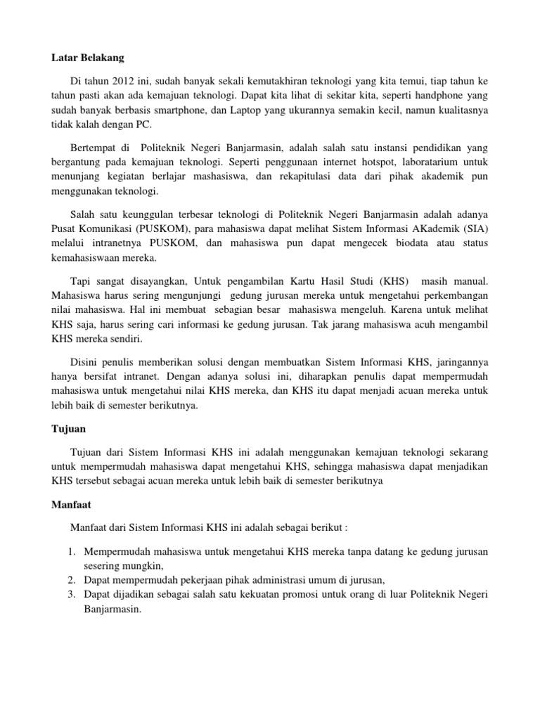 Contoh Laporan Sederhana Pembuatan SI KHS