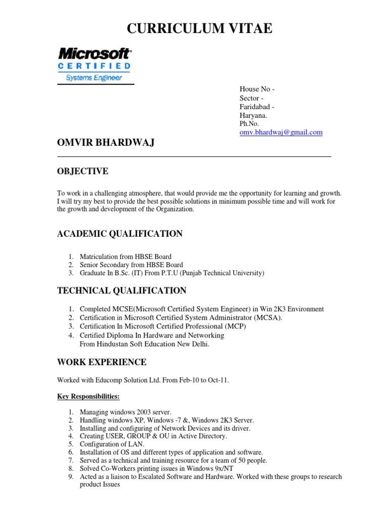 Resume Sample Microsoft Certified Professional Microsoft Windows