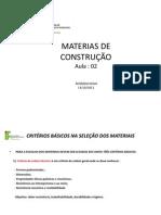 AULA 2 -MATERIAIS DE CONSTRUÇÃO