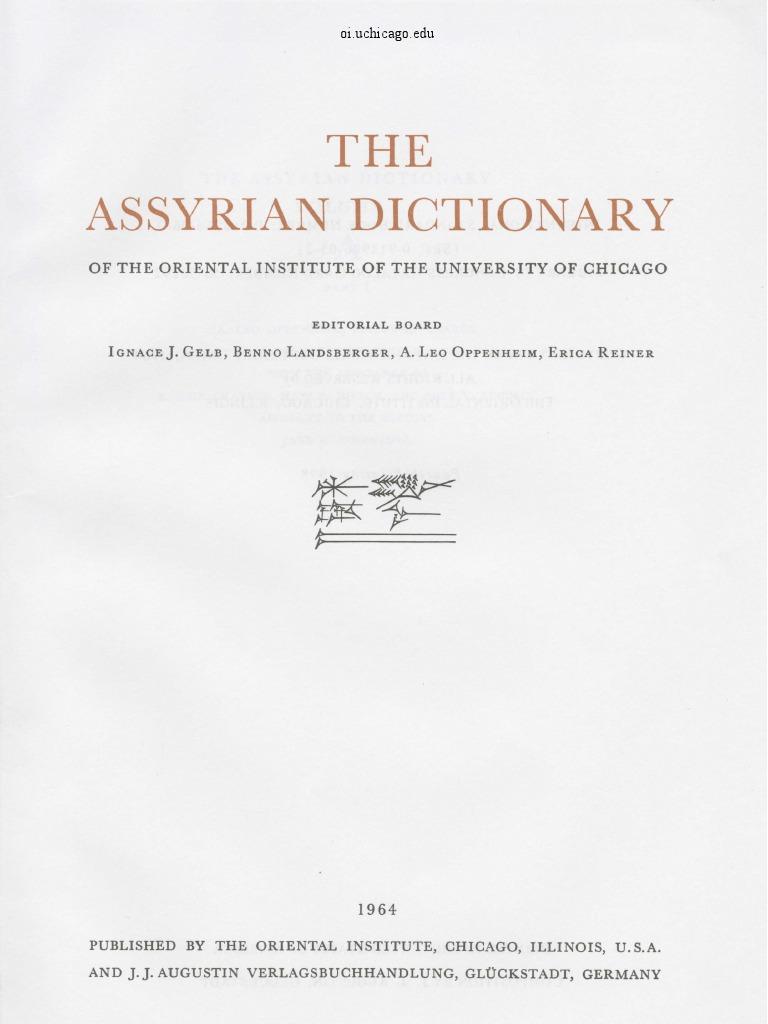 Dicionário Assírio - Volume I - A - Parte 1 43a170a207