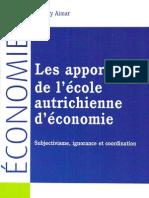 Aimar Les apports de l'ecole autrichienne deconomie Subjectivisme, ignorance et coordination