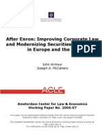 After Enron - Improving Corporate Law and Modernising Securities Regulation in Europe and the US