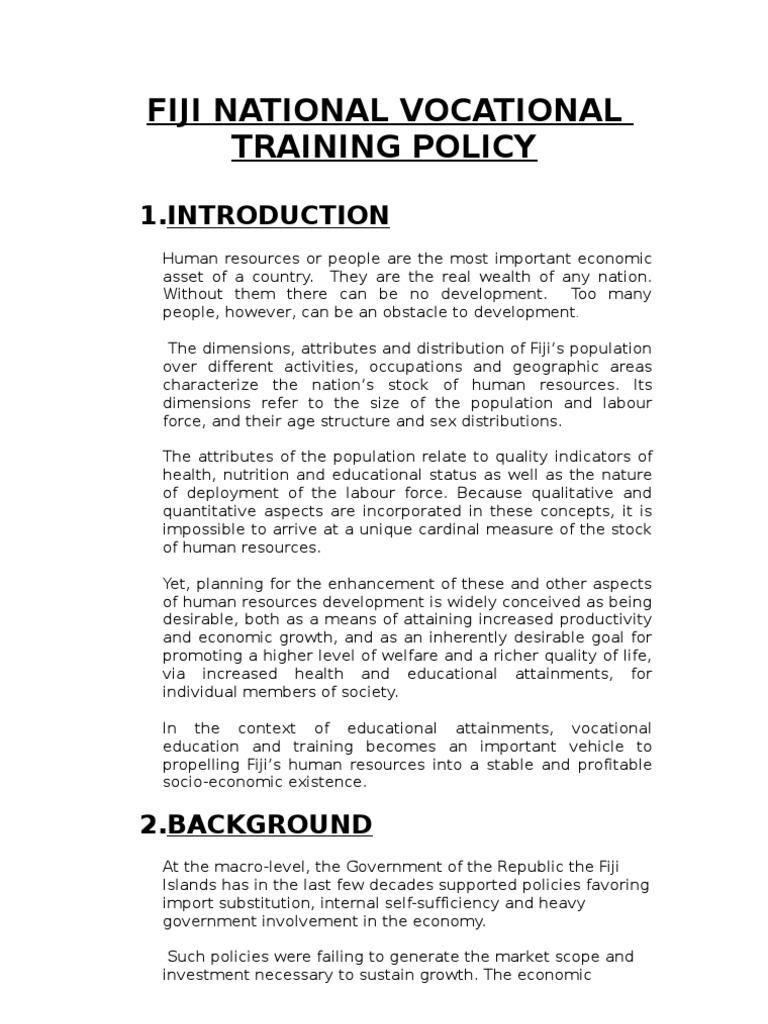 Fiji National Vocational Training Policy