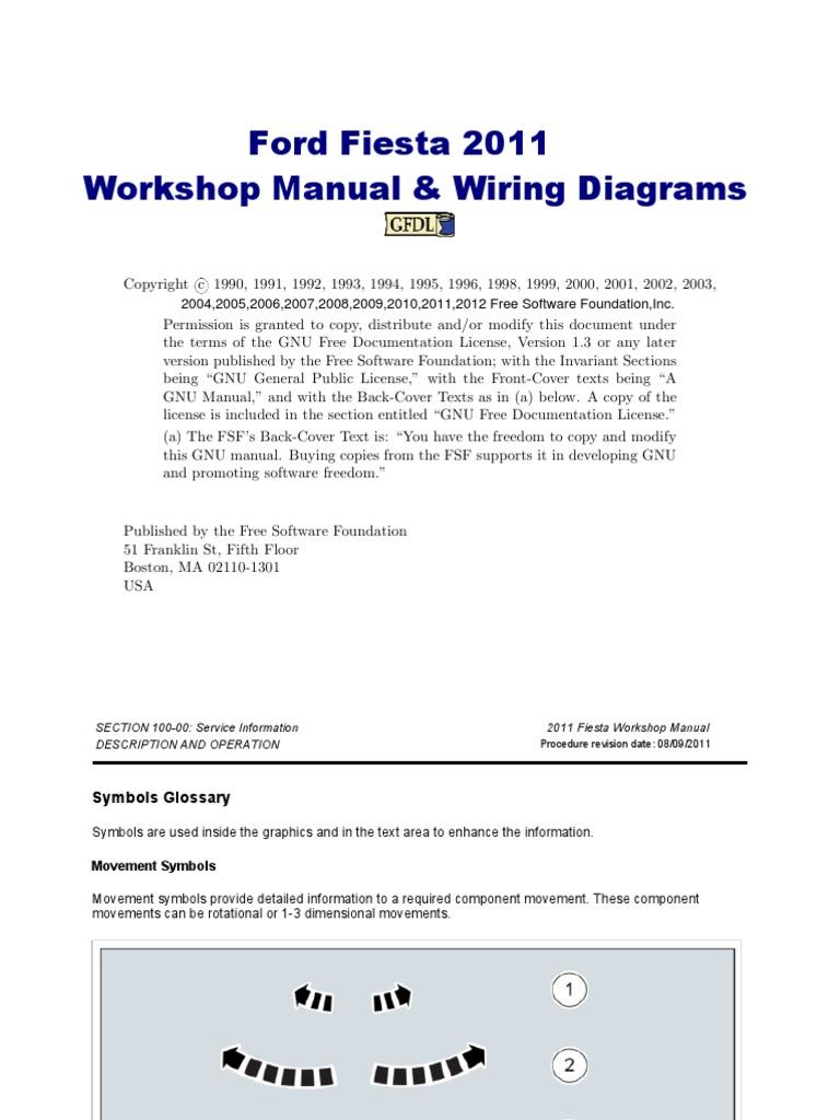 Ford Fiesta Workshop Manual 2011 2010 6 4 Diesel Fuse Diagram