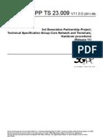 3GPP TS 23.009 V11.0.0 - Handover Procedures