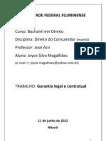 Trabalho de Consumidor - Garantia Contratual e Legal (Word 93-2003)