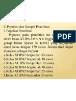 POPULASI PENELITIAN (MAKALAH PENDADARAN)