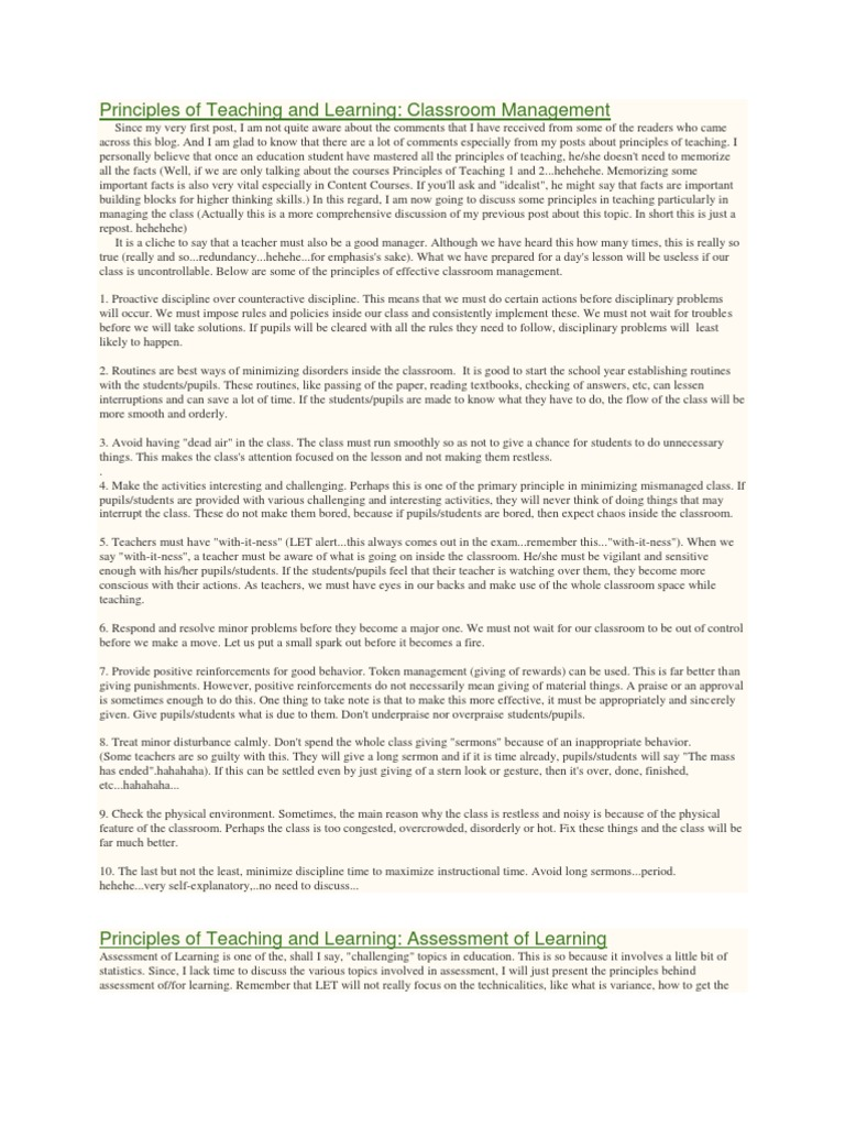 Principles Of Teaching And Learning Educational Assessment