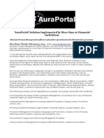 'AuraPortal' Solution Implemented by More than 20 Financial Institutions