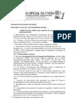 PORTARIA N 192   FUNASA  Institui Processo Seletivo para repasses de recursos para ações de saneamento básico.