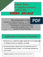 Statistics for Analytical Chemistry (Girma Selale)