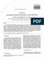 An analysis of memory dysfunction in major depression