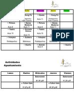 Horario Actividades Extraescolares 2012-2013