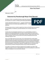 Mayor Bennett Press Release Re