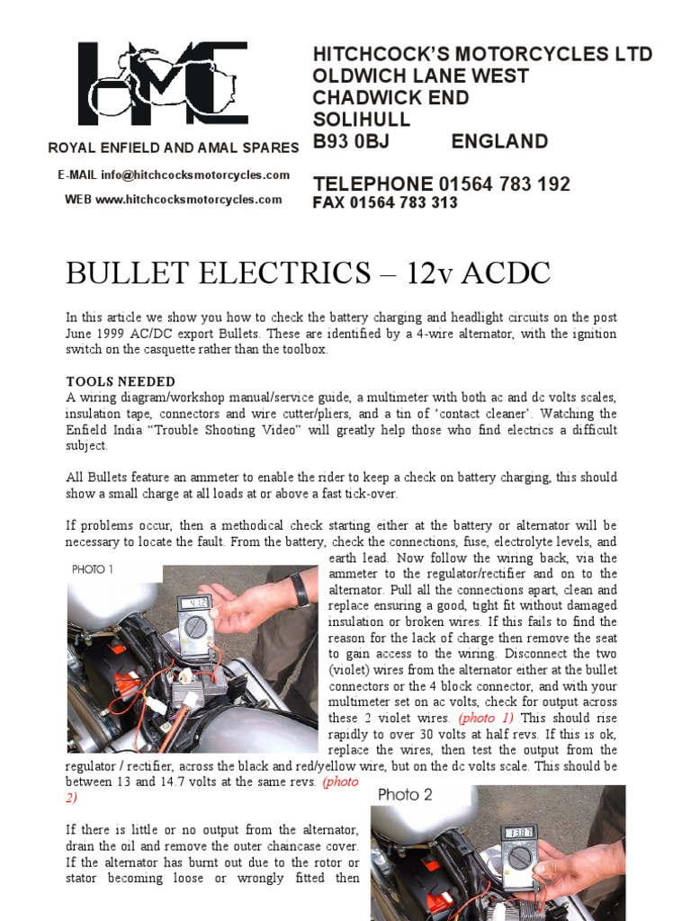 royal enfield BULLET ELECTRICS (Charging) 1999 on.pdf | Alternating Current  | Electricity