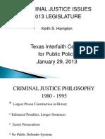 Criminal Justice Issues In the 83rd Legislature