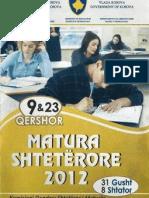 Testi i Matures 2012 (Drejtimi i Pergjithshem. Natyroror , Shoqeror) Grupi A