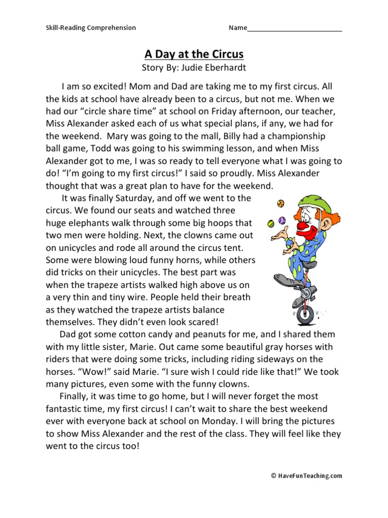 Worksheet Third Grade Comprehension worksheet reading comprehension for third graders mikyu free a day at the circus grade worksheet