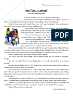 Are You Listening Third Grade Reading Comprehension Worksheet