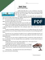 Bath Time Third Grade Reading Comprehension Worksheet