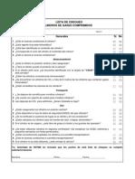 Lista de Chequeo de Cilindros de Gases Comprimidos