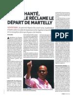 DESENCHANTE LE PEUPLE RECLAME LE DEPART DE MARTELLY par Sylvie Gardel