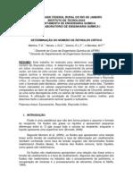 DETERMINAÇÃO DO NÚMERO DE REYNOLDS CRÍTICO